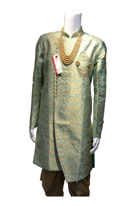 Green  And Gold sherwani (M0351B)