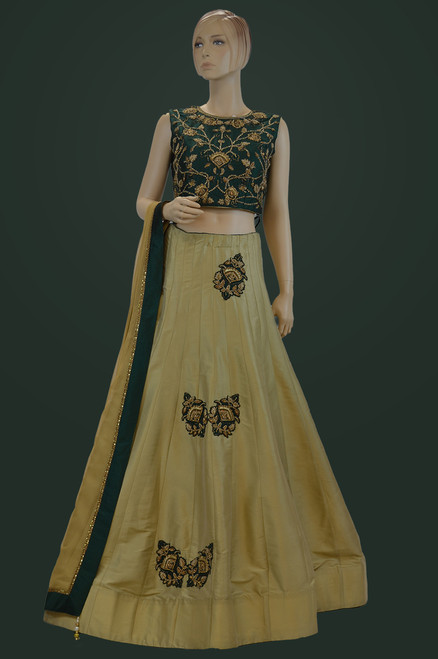 Green color lehengha choli for sangeet (D1050)