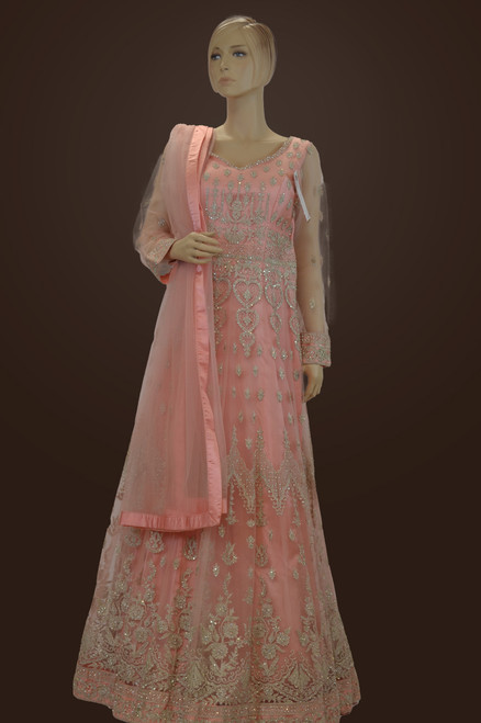 Majestic pink and silver thread work indian wedding or engagement dress