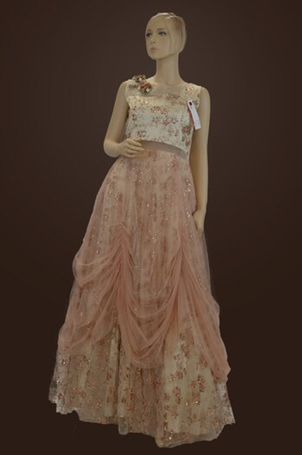 Pink color gown for Indian bridal party or wedding reception. (D1081)