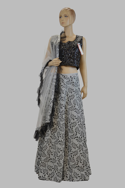 Black And Grey Lehengha Choli (D1084)