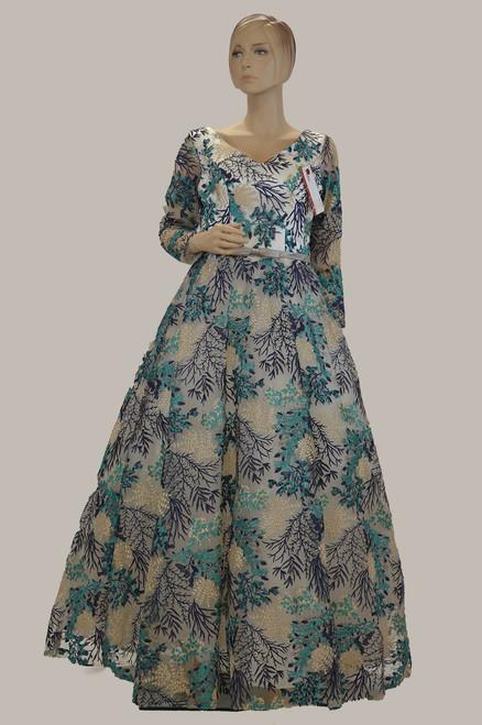 Sea green color net floor length gown
