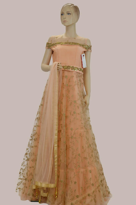 Peach color floor length wedding gown