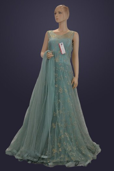 Sea green color Indian gown for wedding reception (D1091)