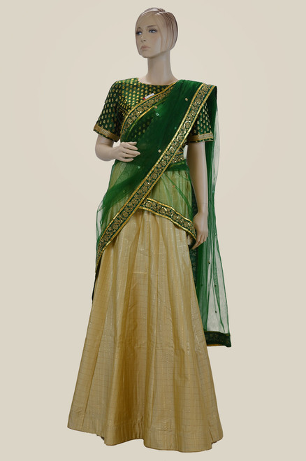 Create and Green Lhenegha choli (L0208)