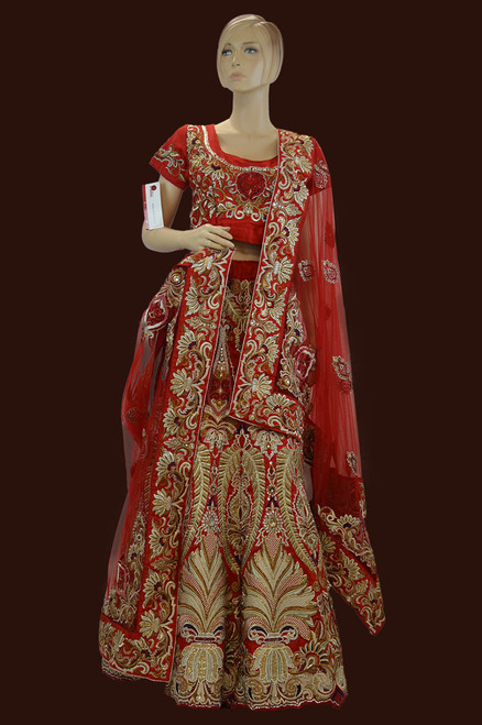 Red color bridal lehengal choli with embroidery work all over.