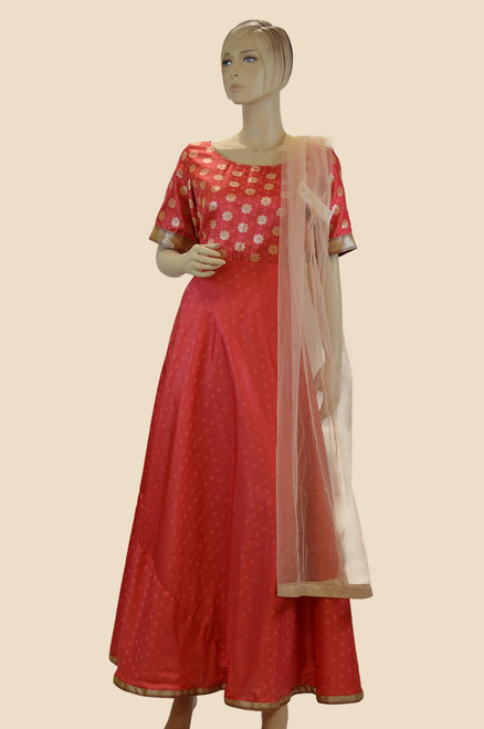 Red Color Cotton Salwar Dress (D1123)