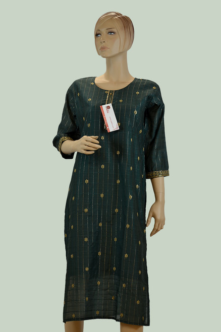 Green color cotton Kurti with golden threaded work.