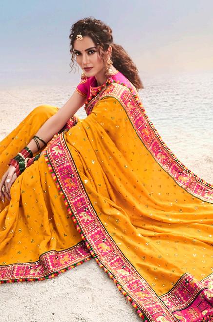 Mustard Color Paure Satin Sari (S0634)