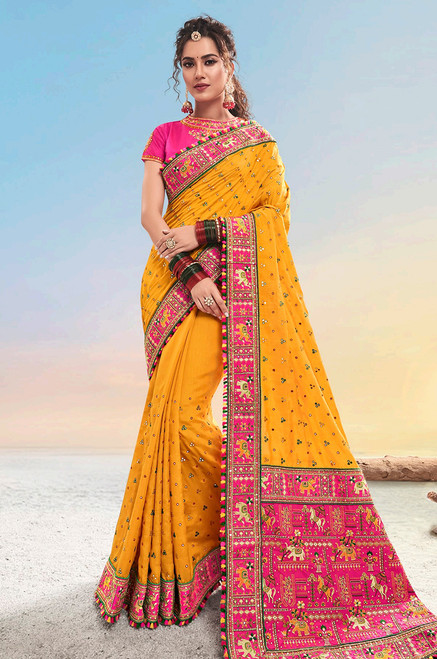 Mustard Color Paure Satin Sari (S0634)