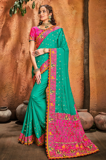 Firozi Color Pure Satin Sari (S0636)