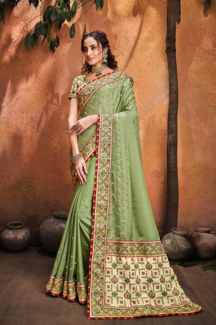 Light Green Color Pure Satin Sari (S0637)