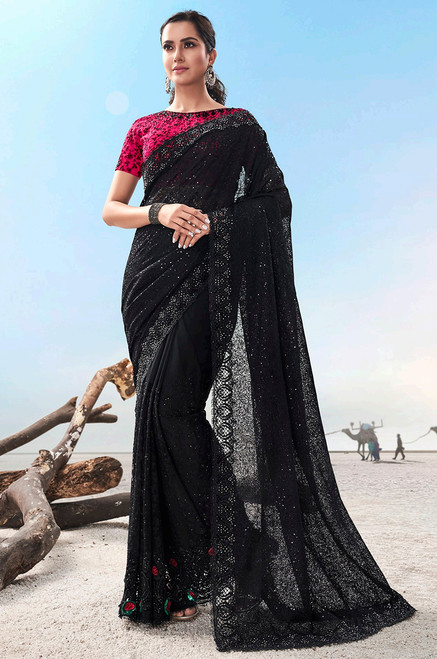 Black Sari with pink blouse piece