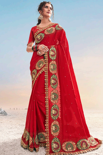 Red Color Pure Satin Sari (S0642)