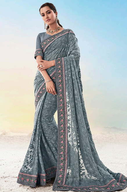 Grey Color Pure Georgette Sari (S0643)
