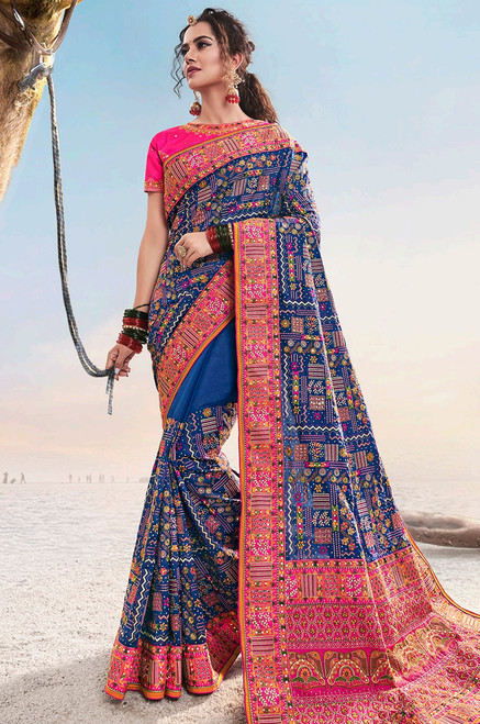 Blue And Pink Color Kachhi Work Sari (S0645)