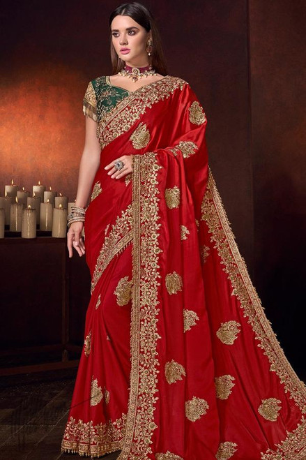 Red Color Heavy Work Sari (S0647)