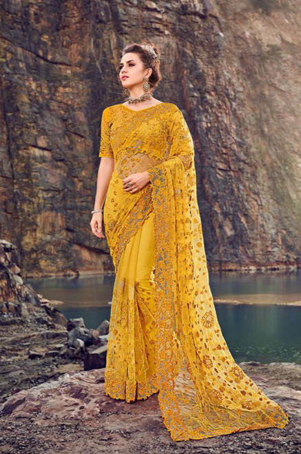 Yellow Color Designer Sari (S0648)
