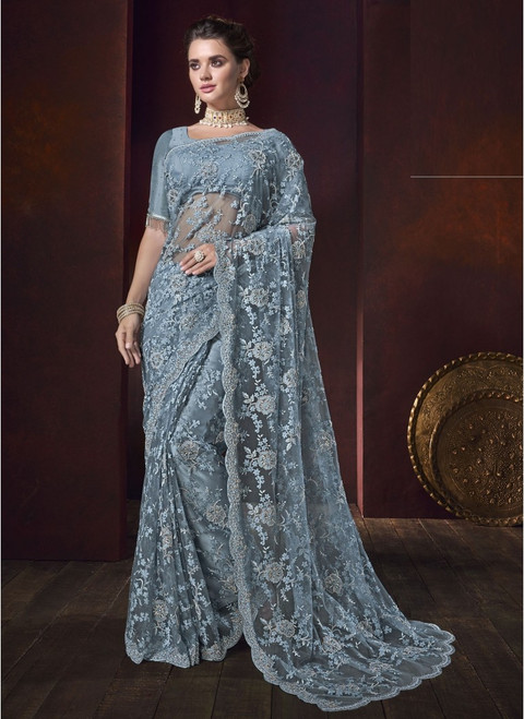 Grey Color Designer Sari (S0649)
