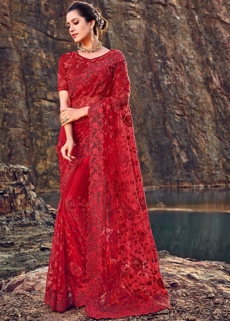Red Color Designer Sari (S0650)