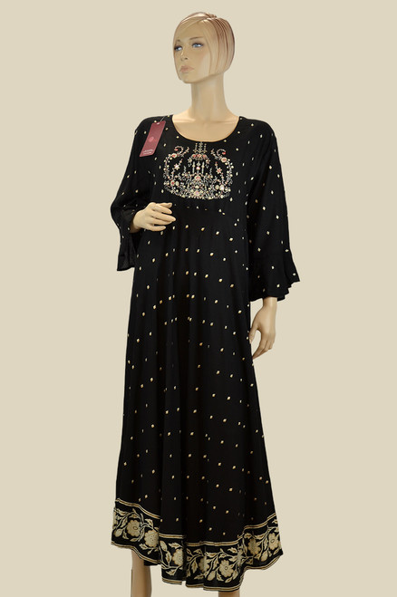 Black color long kurti with floral embroidery work.