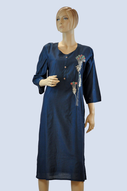 Blue Color Cotton Kurti (T0198)