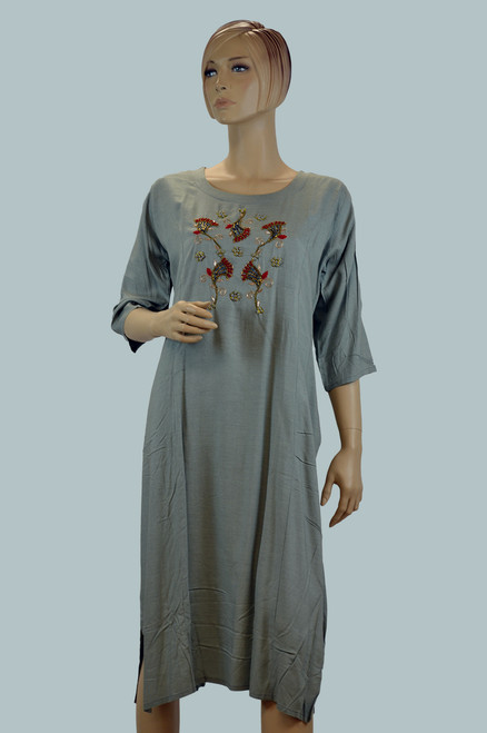 Grey color cotton Kurtis with embroidery work.