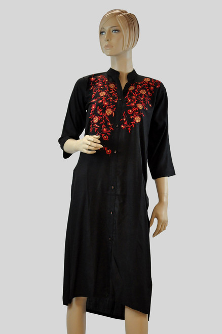 Black And Red Cotton Kurti (T0209)