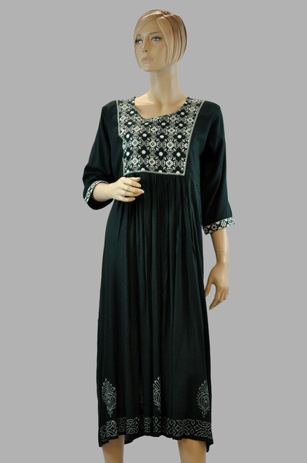 Green And White Cotton Kurti (T0219)