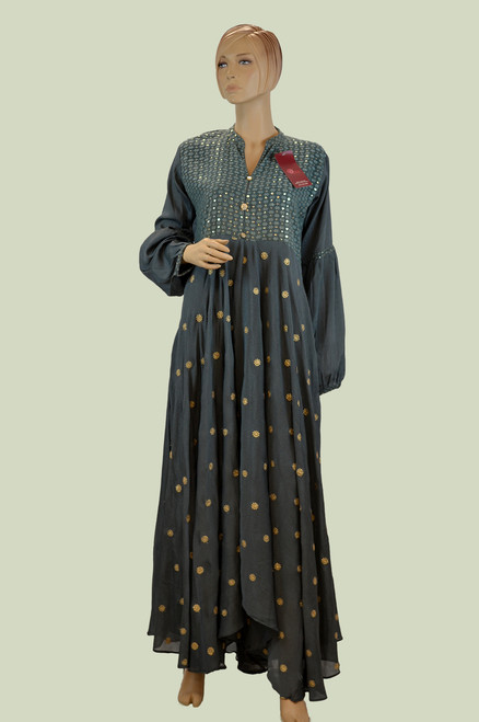 Grey color long cotton kurti with golden patch work.