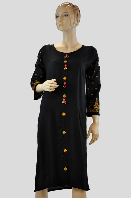 Black Color Cotton Kurti (T0196)