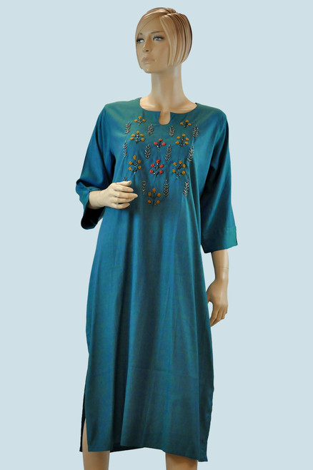 Teal color cotton Kurti with embroidery work