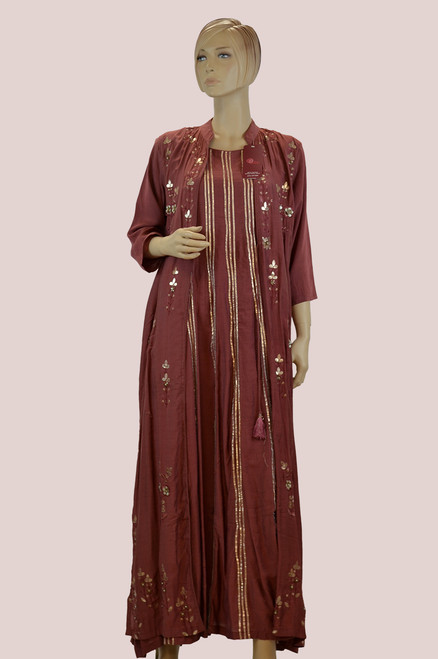 Maroon color long cotton kurti with floral patch work.