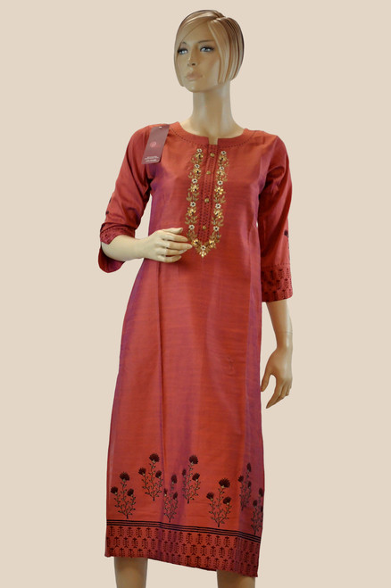 Light Brown Color Cotton Kurti (T0200)
