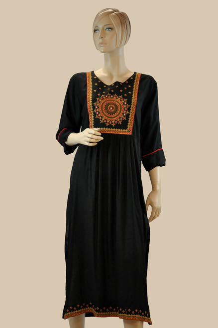 Black Color Cotton Kurti (T0206)