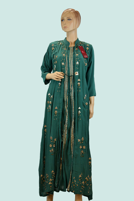 Green color long kurti with jacket.