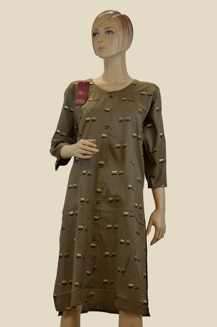 Brown color cotton Kurti with floral work.