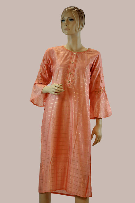 Light orange color cotton Kurti with embroidery work.