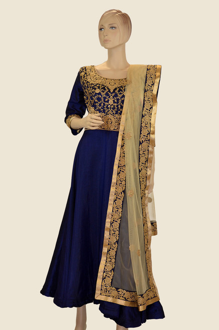 Blue color cotton silk anarkali dress with elegant golden embroidery work and matching dupatta.