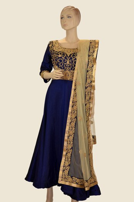 Blue Anarkali Dress With Elegant Work (D1089)