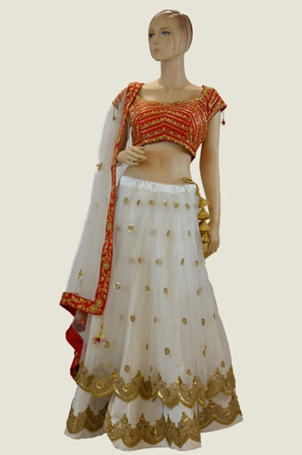 Red And White Color Lehengha Choli ( L0218)
