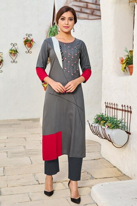 Dark Grey Color Kurti (T0274)