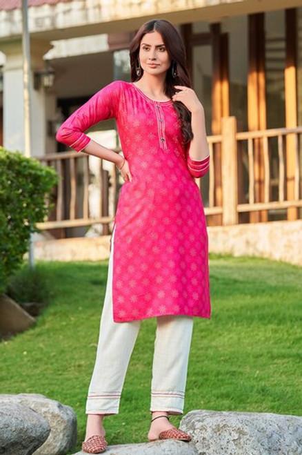 Pink Bandhej Print Dress  (D1132)