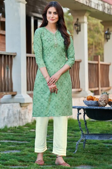 Light Green Color Bandhej Print Dress  (D1134)