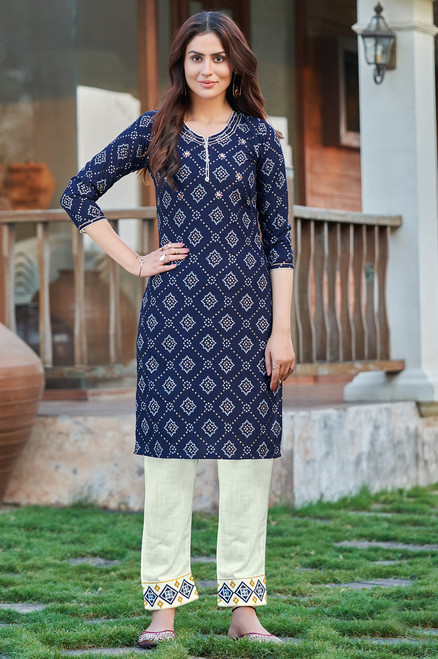 Navy Blue Color Bandhej Print Dress  (D1135)