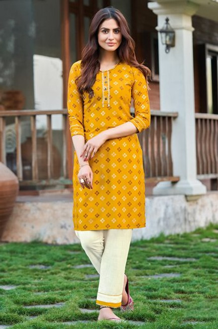Mustard Color Bandhej Print Dress  (D1136)
