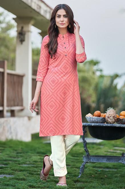 Coral Pink Bandhej Print Dress  (D1137)
