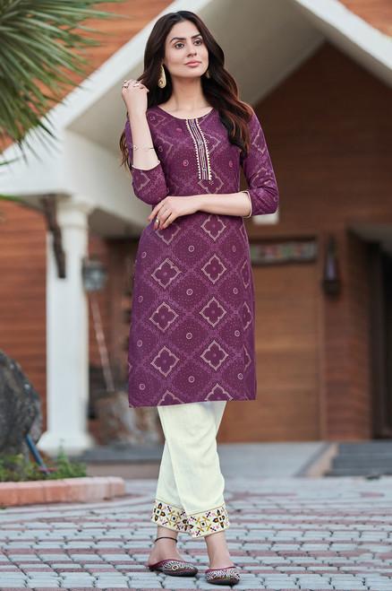 Purple Color Bandhej Print Dress  (D1138)