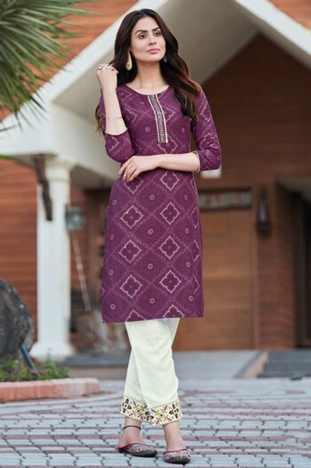 Purple Color Bandhej Print Dress  (D1138)