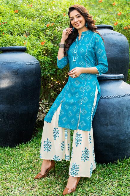 Turquoise Color Gold Print Dress  (D1125)